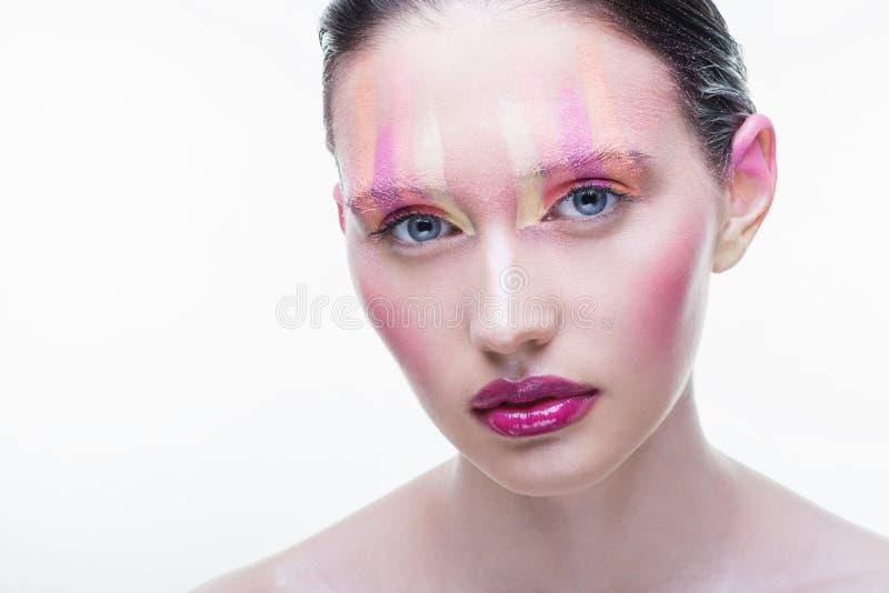 Ragazza delle labbra su un fondo bianco fotografia stock libera da diritti