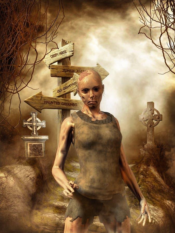 Ragazza delle zombie royalty illustrazione gratis