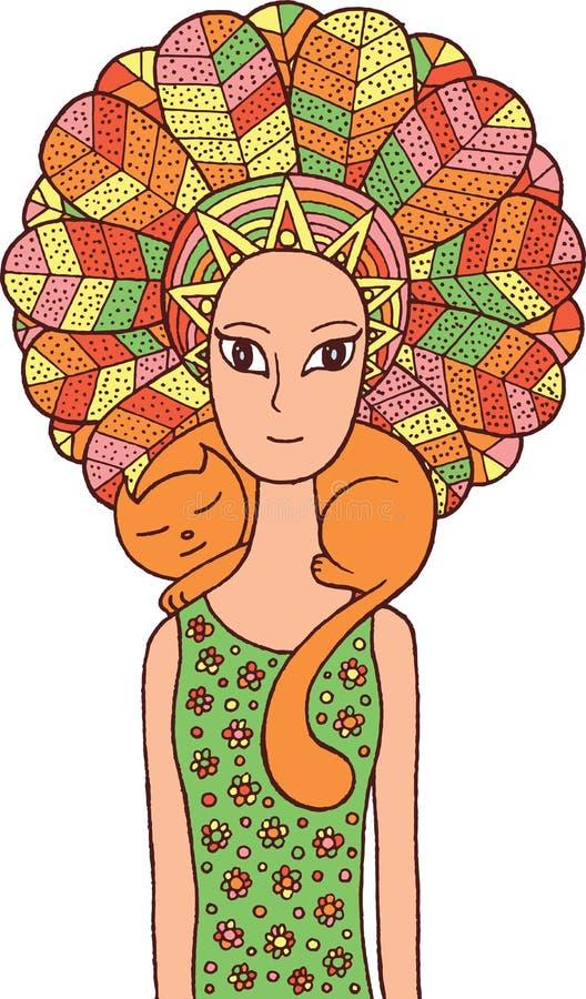 Ragazza dello sciamano di Boho con il gatto sveglio Materiale illustrativo disegnato a mano di fiaba E royalty illustrazione gratis