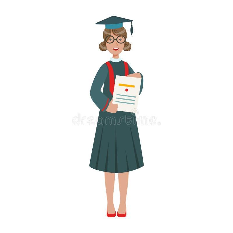 Ragazza dello studente graduato in abito del cappuccio che mostra diploma Illustrazione variopinta del fumetto royalty illustrazione gratis