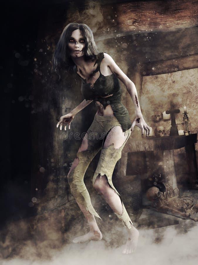Ragazza dello zombie in una tomba spettrale illustrazione vettoriale