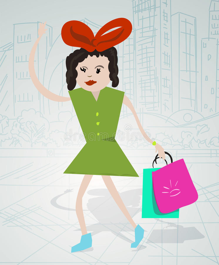 Ragazza di acquisto che cammina nella città royalty illustrazione gratis