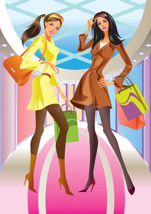 Ragazza di acquisto di due modi con il sacchetto in viale royalty illustrazione gratis