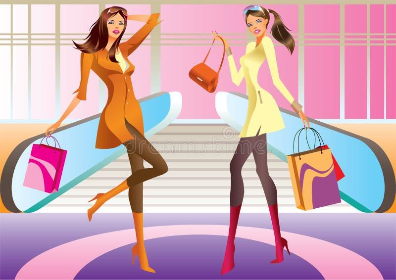 Ragazza di acquisto di due modi con il sacchetto in viale illustrazione vettoriale