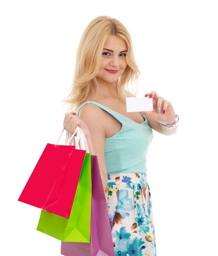 Ragazza di acquisto su bianco immagine stock