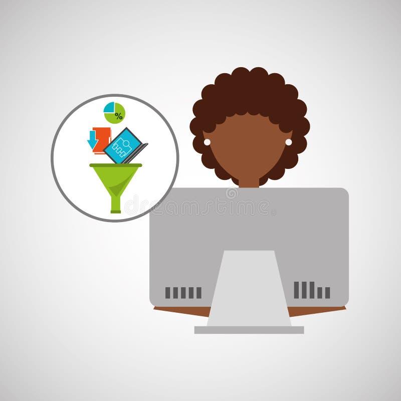 Ragazza di afro che usando analisi dei dati del computer illustrazione vettoriale
