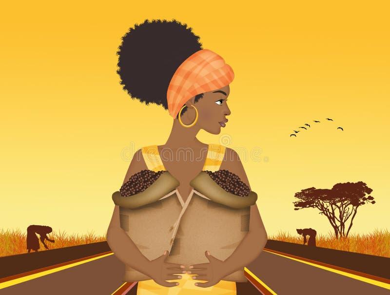 Ragazza di afro con caff? royalty illustrazione gratis
