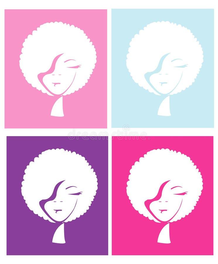Ragazza di Afro nel colore differente quattro illustrazione vettoriale