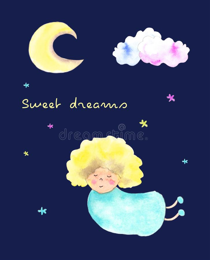Ragazza di angelo, carta di sogni dolci royalty illustrazione gratis