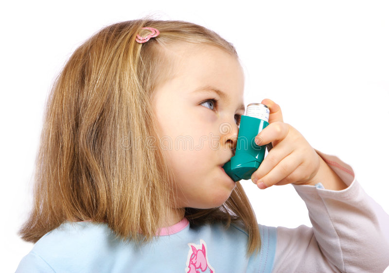 Ragazza di Astmatic fotografie stock