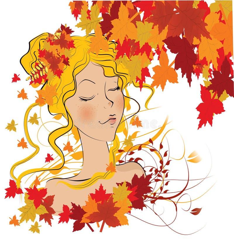 Ragazza di autunno illustrazione di stock