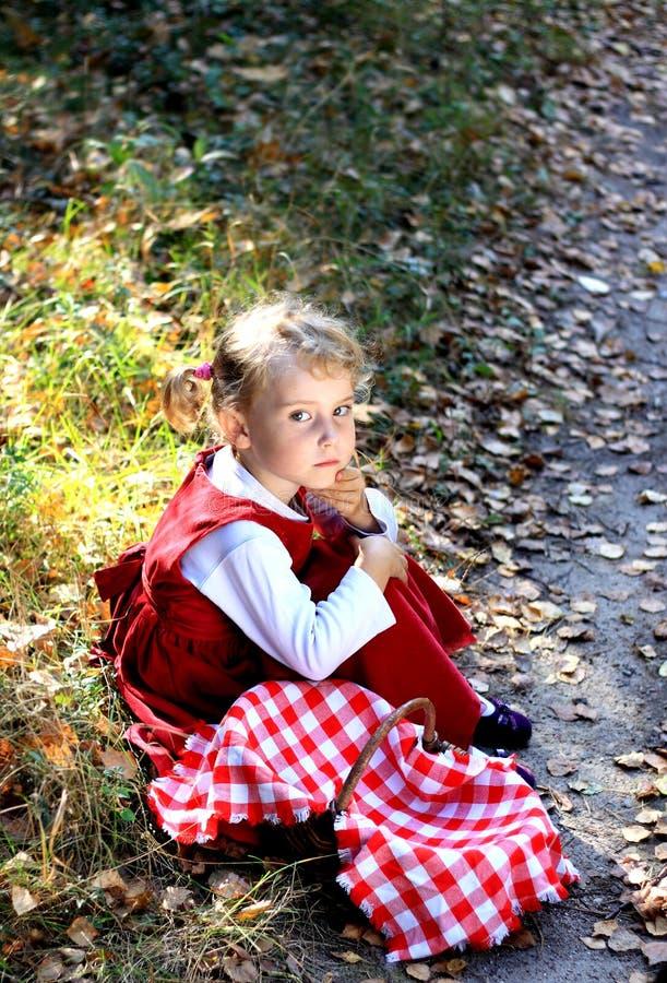 Ragazza di autunno in cappotto rosso fotografia stock