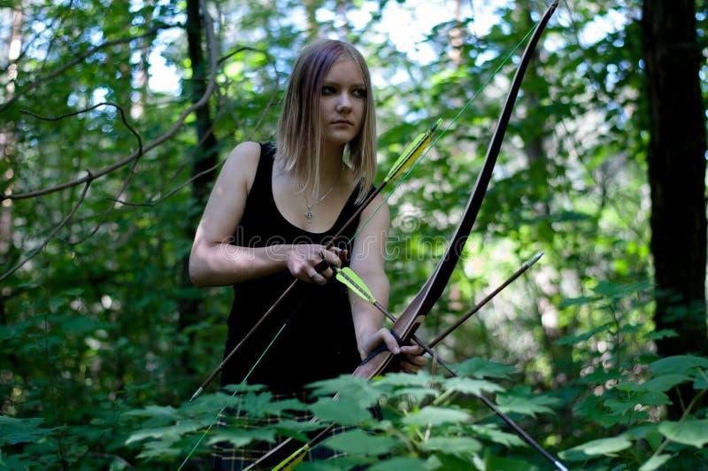 Ragazza di caccia di Elven fotografie stock libere da diritti