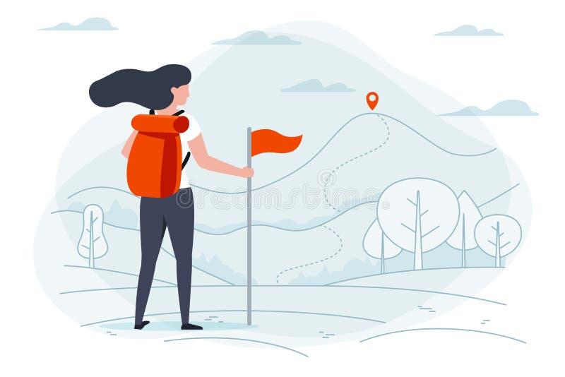 Ragazza di campeggio Parco, foresta, alberi, montagne royalty illustrazione gratis