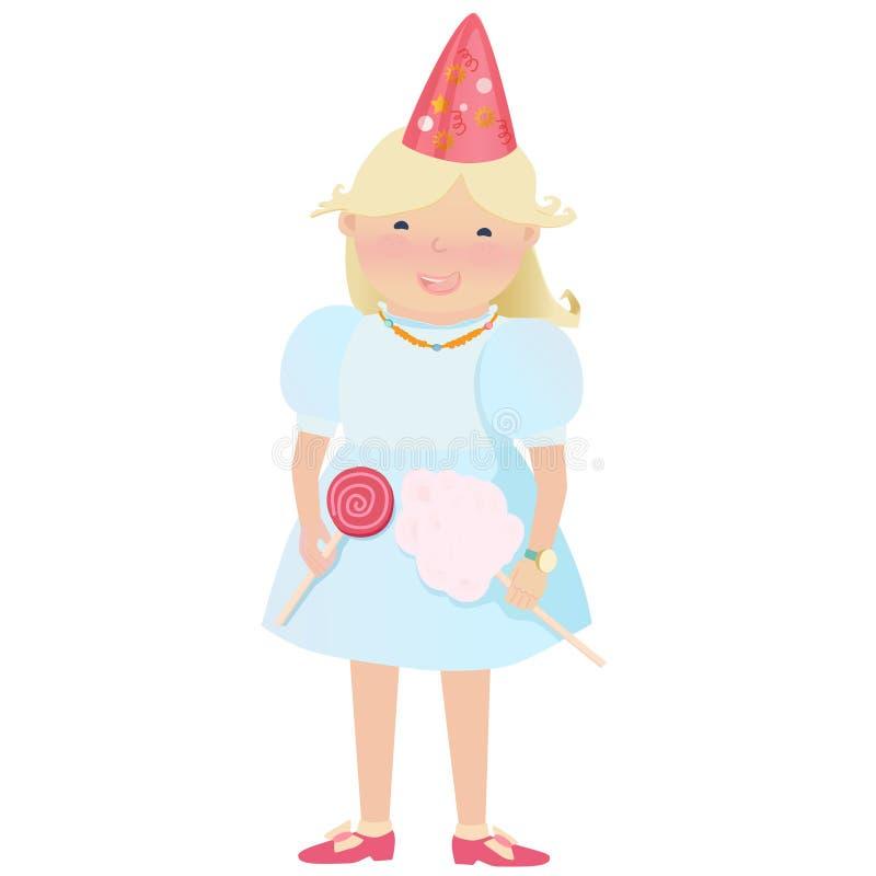 Ragazza di Cartooned con le caramelle ed il cappello del partito illustrazione di stock