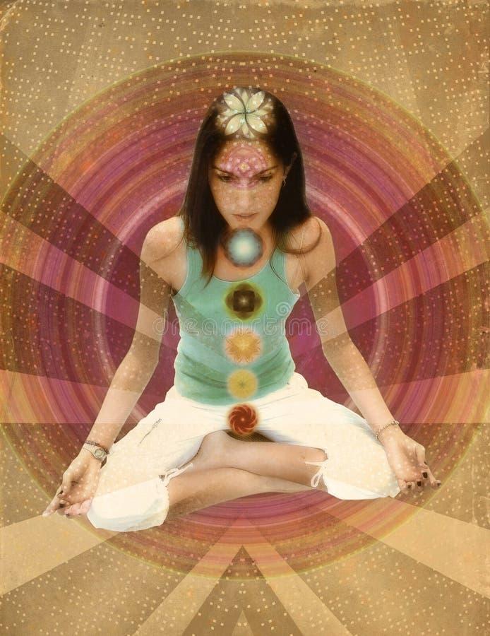Ragazza di chakras dell'annata immagini stock
