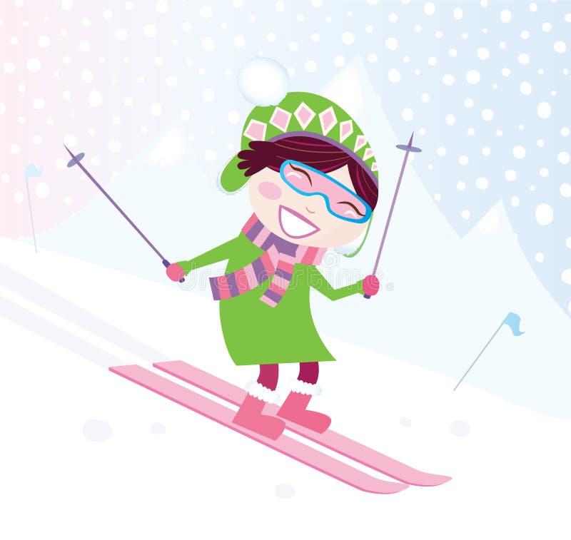 Ragazza di corsa con gli sci sulla collina nevosa royalty illustrazione gratis