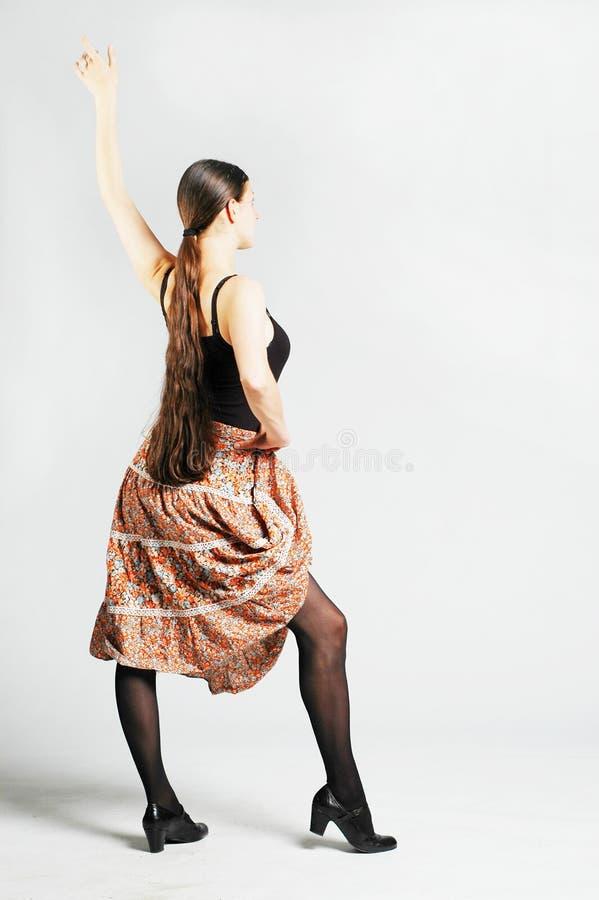 Ragazza di Dancing in pannello esterno fotografia stock