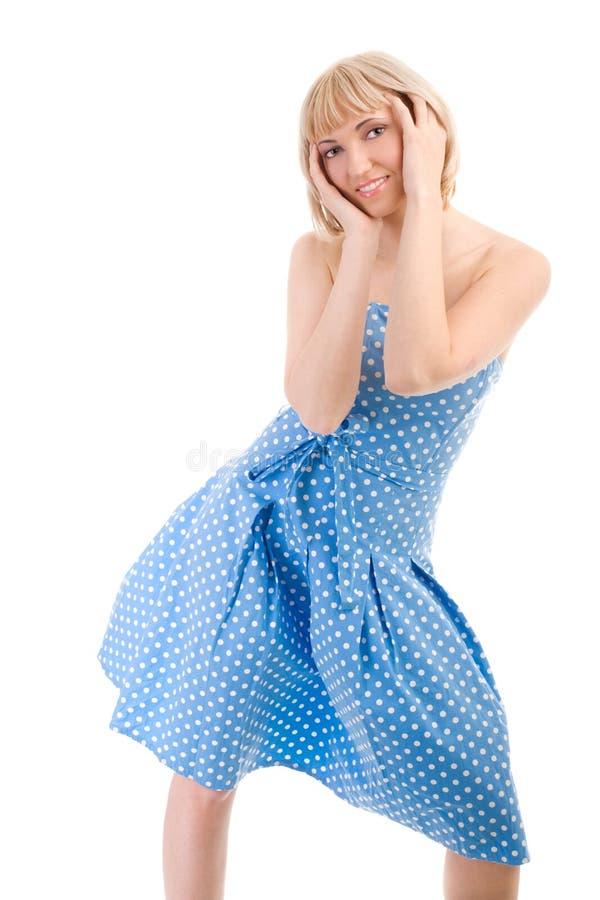 Ragazza di Dancing in vestito blu fotografia stock libera da diritti