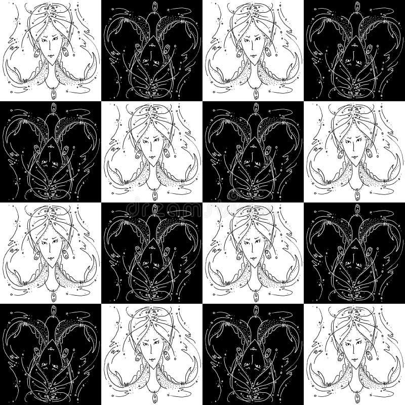 Ragazza di disegno in bianco e nero di struttura dello zodiaco del Cancro senza cuciture del segno con le trecce sotto forma di c fotografia stock libera da diritti