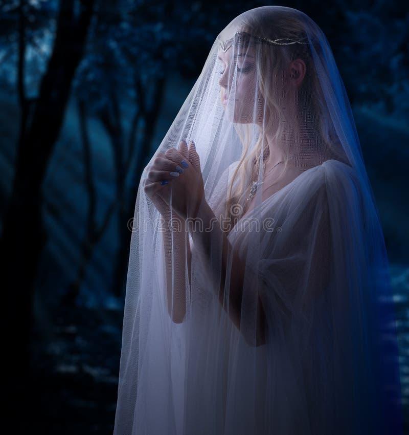 Ragazza di Elven alla foresta immagini stock libere da diritti