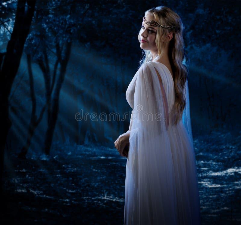 Ragazza di Elven alla foresta di notte fotografia stock libera da diritti