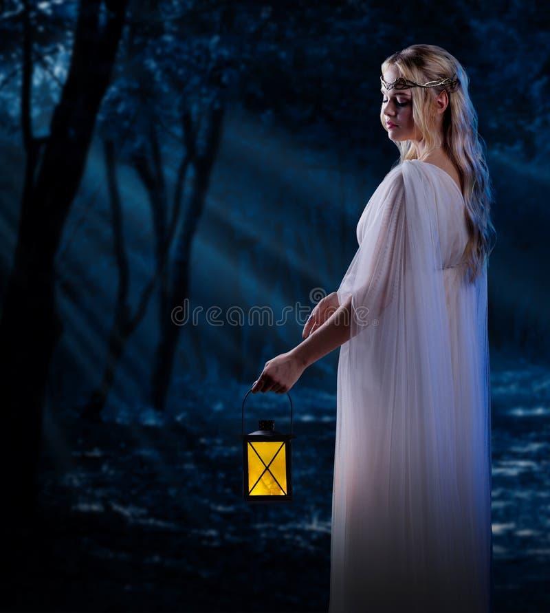 Ragazza di Elven con la lanterna alla foresta di notte fotografia stock libera da diritti