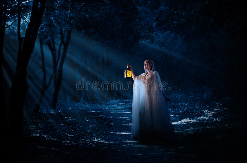 Ragazza di Elven nella foresta fotografia stock