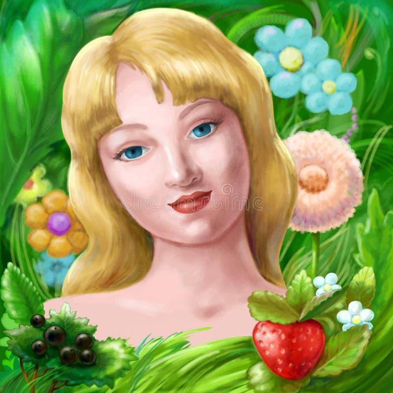 Ragazza di estate con i fiori royalty illustrazione gratis