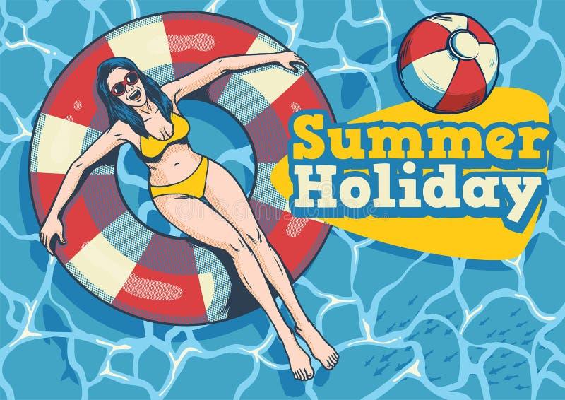 Ragazza di estate con il galleggiante nello stagno royalty illustrazione gratis