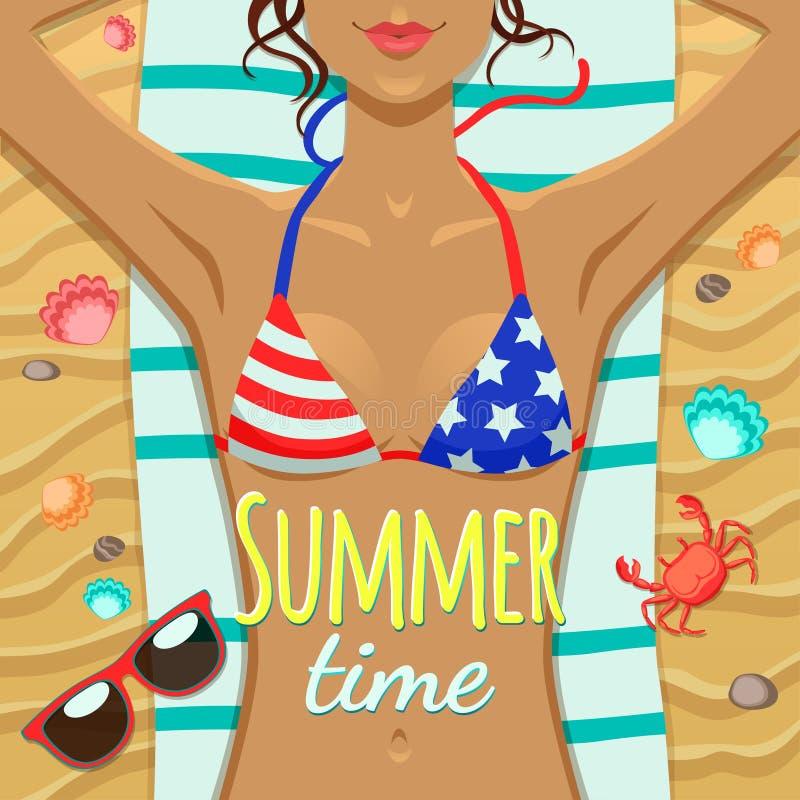 Ragazza di estate sulla spiaggia illustrazione vettoriale