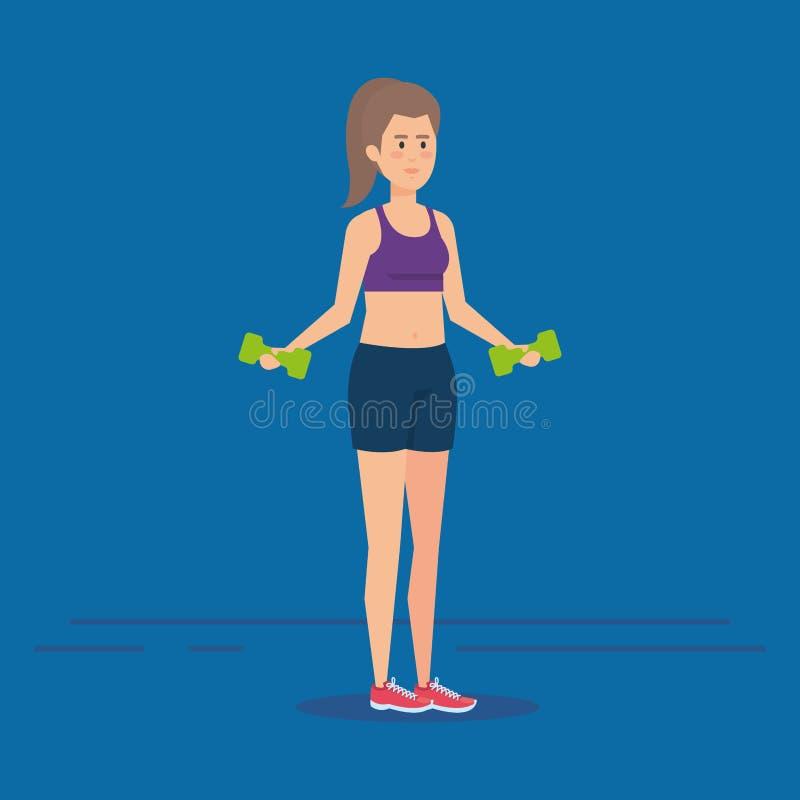Ragazza di forma fisica con progettazione degli abiti sportivi illustrazione vettoriale