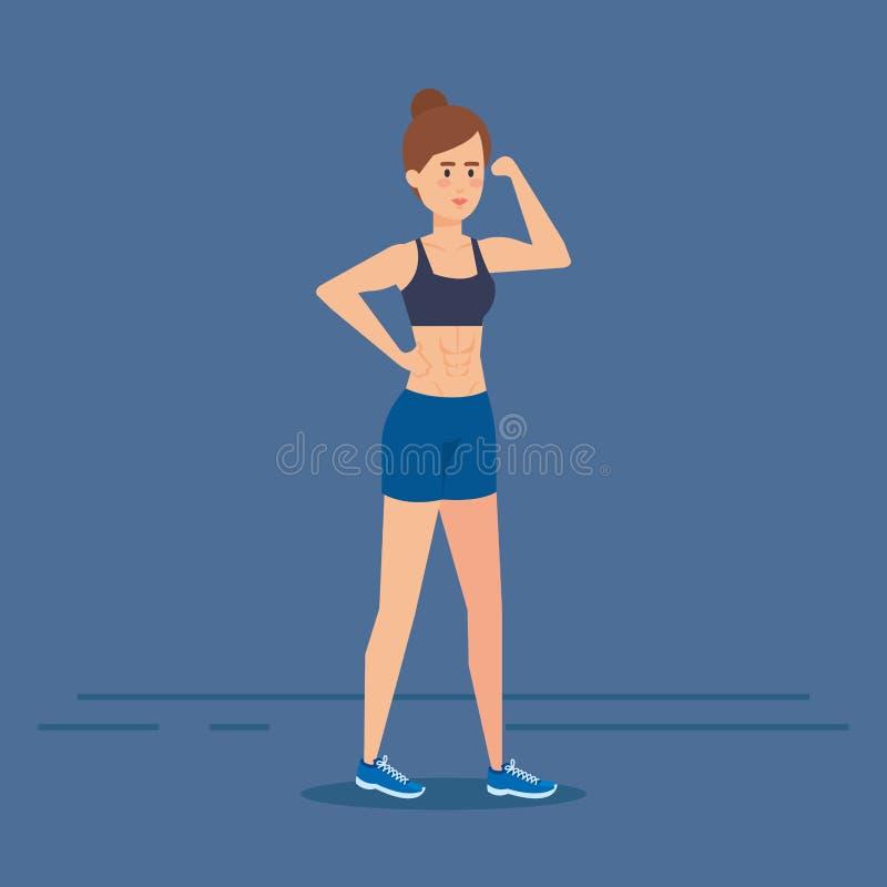 Ragazza di forma fisica con progettazione degli abiti sportivi illustrazione di stock