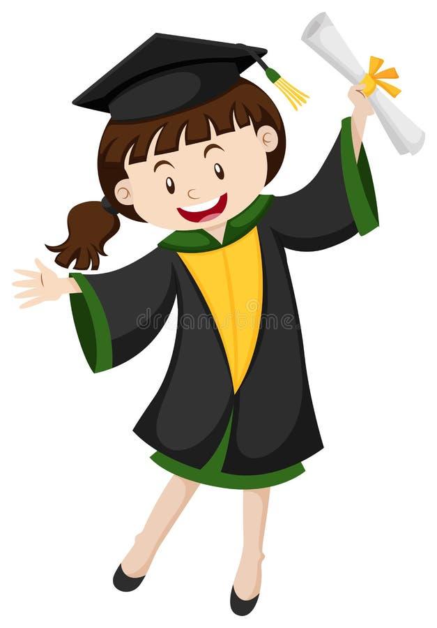 Ragazza di graduazione con il grado royalty illustrazione gratis