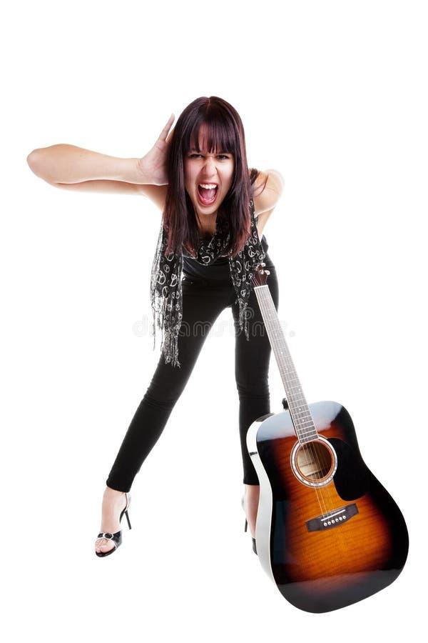 Ragazza di Indie con la chitarra immagini stock libere da diritti