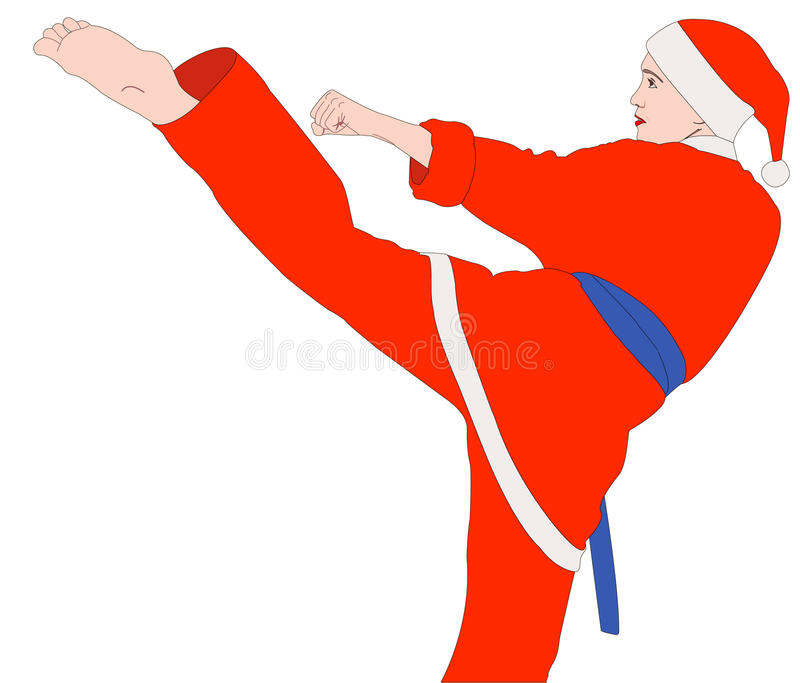 Ragazza di karatè nel vestito di Santa illustrazione vettoriale