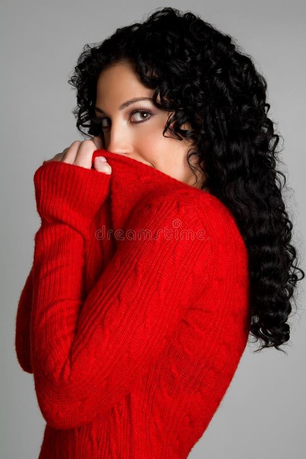 Ragazza di maglione rossa fotografie stock