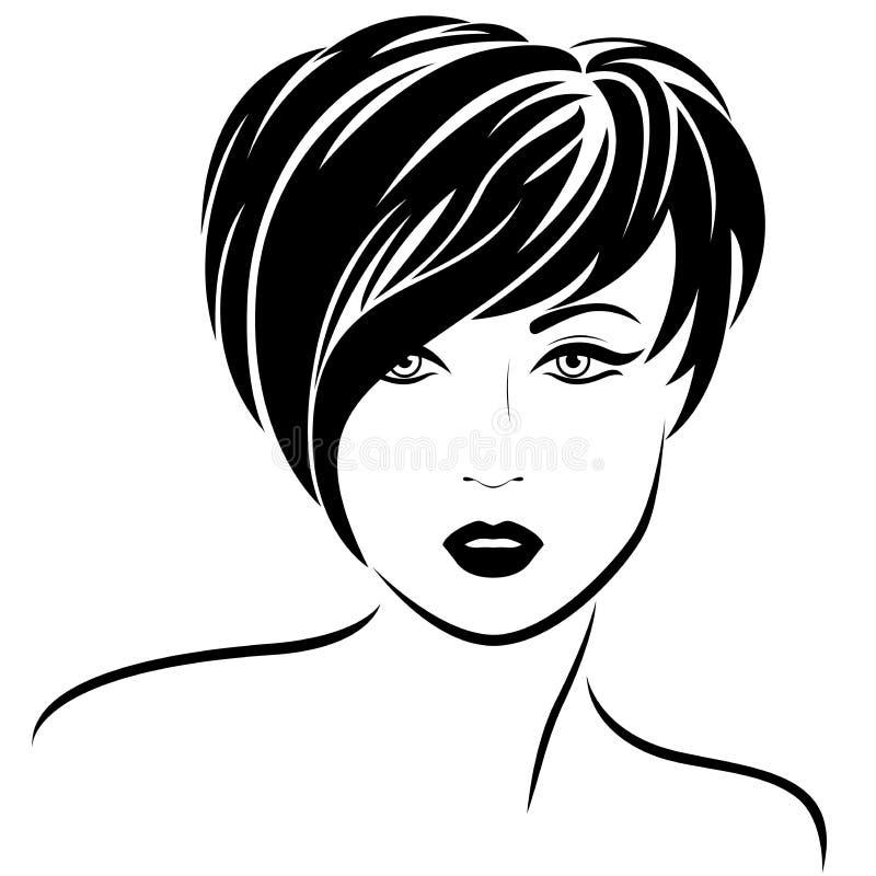 Ragazza di modo con brevi capelli alla moda illustrazione di stock