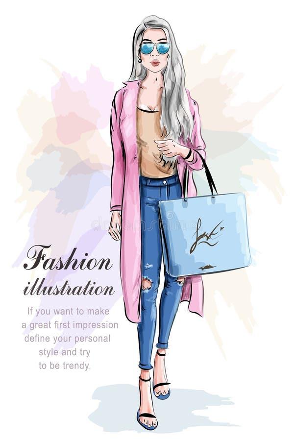 Ragazza di modo con il sacchetto di acquisto Insieme di modo Donna alla moda illustrazione vettoriale
