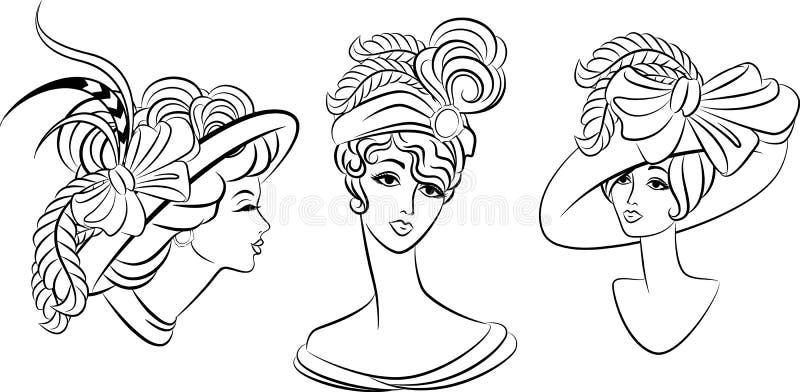 Ragazza di modo dell'annata in cappello. illustrazione di stock