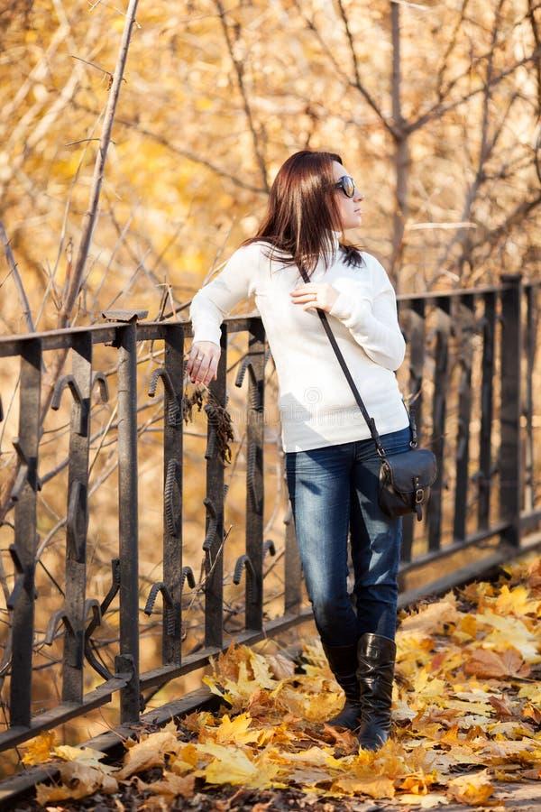 Ragazza di modo nella sosta di autunno immagini stock