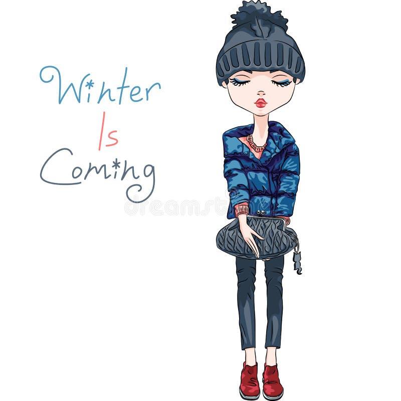 Ragazza di modo di vettore in vestiti di inverno royalty illustrazione gratis