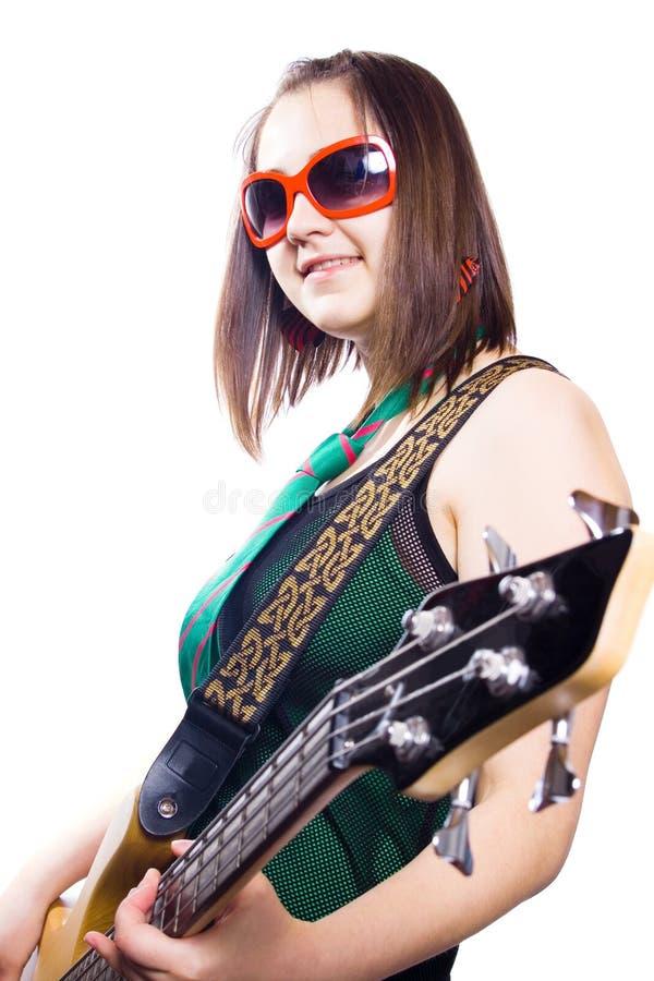 ragazza di musica con la chitarra immagini stock