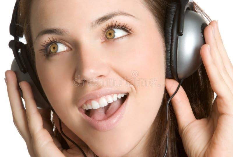 Ragazza di musica delle cuffie immagine stock libera da diritti