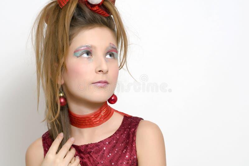 Ragazza di natale in vestito rosso fotografie stock