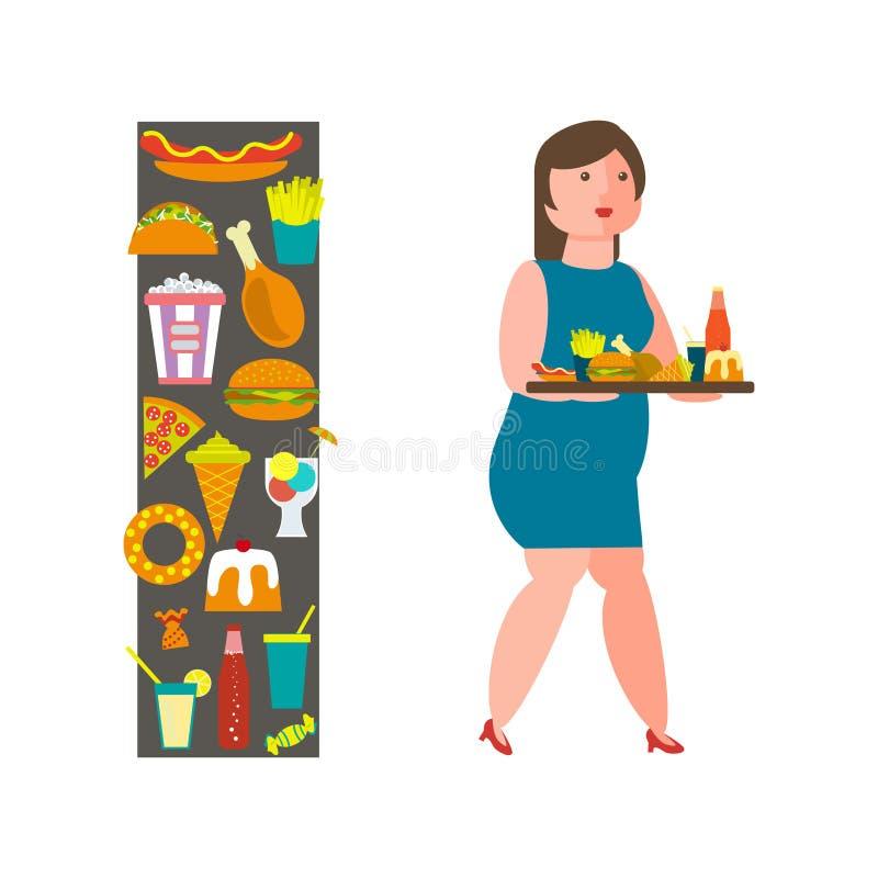 Ragazza di peso eccessivo con porcherie illustrazione di stock