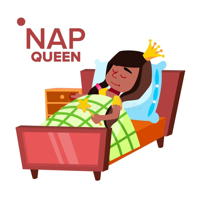 Ragazza di pisolino, personaggio dei cartoni animati addormentato di vettore del bambino royalty illustrazione gratis