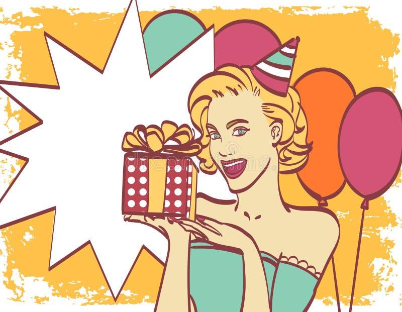 Ragazza di Pop art con la bolla di pensiero Invito del partito Scheda di compleanno Hollywood, stella del cinema Donna comica Rag illustrazione di stock