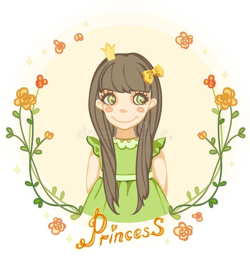 Ragazza di principessa nel telaio floreale illustrazione vettoriale
