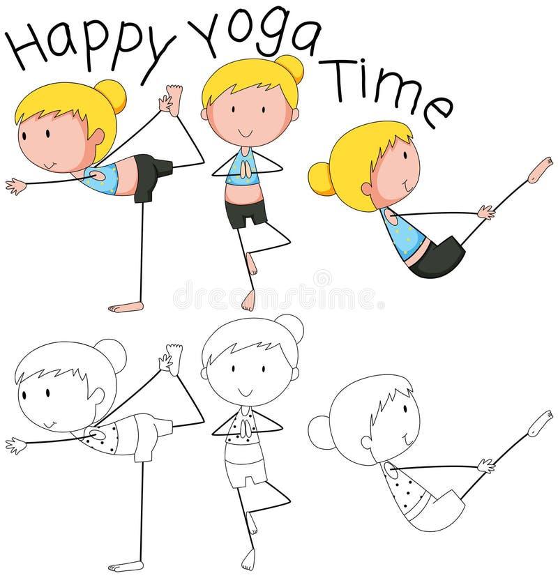 Ragazza di scarabocchio che fa yoga illustrazione di stock